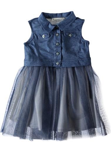 Tüllü Örme Denim Elbise-Asymmetry